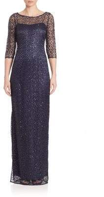 Kay Unger Beaded Lace Sheath Gown