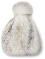 La Fiorentina Mink & Fox Fur Pompom Beanie Hat, White