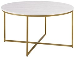 "Walker Edison 36"" White Faux-Marble Coffee Table with Gold Metal X-Base"
