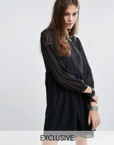 Reclaimed Vintage Sheer Layer Smock Dress With Star Patches