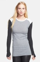 Enza Costa Colorblock Cotton & Cashmere Jersey Sweater