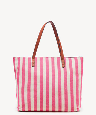 Sole Society Women's Lilyn Tote Fabric Pink Stripe Fabric Vegan Leather From