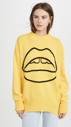 Markus Lupfer Erin Lara Lip Crew Neck Sweater