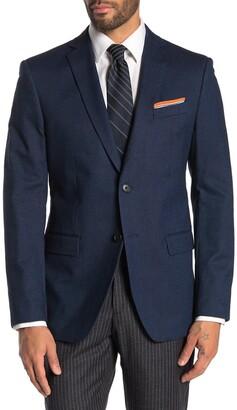 John Varvatos Blue Birdseye Two Button Notch Lapel Jacket