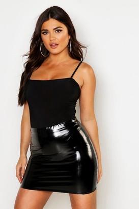 boohoo High Waist Vinyl Mini Skirt