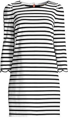 Kate Spade Sailing Striped Scalloped Dress