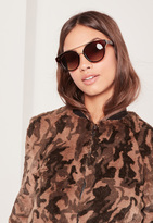 Missguided T-Bar Gold Wire Detail Sunglasses Brown
