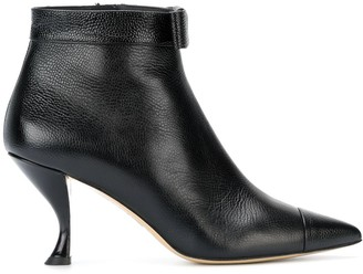 Thom Browne Bowed Curved Heel Bootie In Pebble Grain Leather