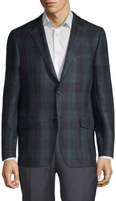 Hickey Freeman Plaid Linen, Wool & Silk Sportcoat