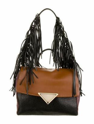 Sara Battaglia Leather Fringe Satchel Black