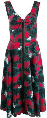 Marni Leaf Print Sleeveless Pleated Dress