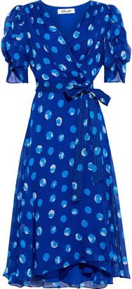 Diane von Furstenberg Kimora Ruched Polka-dot Silk-georgette Wrap Dress