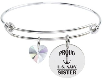 U.S. Navy Family Bangle Made with Swarovski by Pink Box Sister Silver