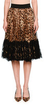 Dolce & Gabbana Lace-Hem Pleated Leopard-Print Skirt, Brown/Black