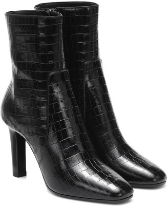 Saint Laurent Jane croc-effect leather ankle boots