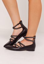 Missguided Chain Detail Pointed Flat Shoes Black