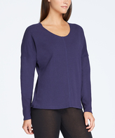Yummie by Heather Thomson Medieval Blue Pima-Blend Drop-Shoulder Sweater