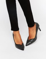 Office Minx Stud Leather Point Court Shoes