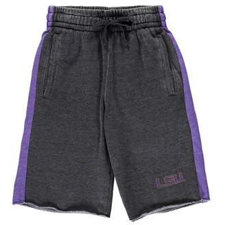 Colosseum Youth Charcoal/Purple LSU Tigers The Majors Fleece Shorts
