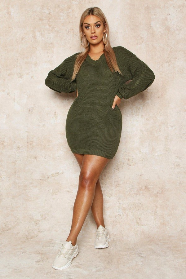 boohoo Plus Rib V-Neck Sweater Dress
