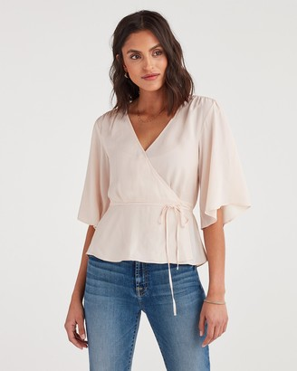 7 For All Mankind Wrap Front Short Sleeve Top in Pink Sunrise