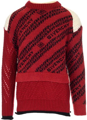 Givenchy Chain Intarsia Patchwork Knit Sweater