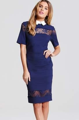Paper Dolls Navy Lace Collar Dress