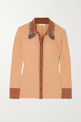 Chloe - Appliqued Ribbed Cotton And Silk-blend Crepe Shirt - Orange