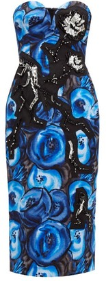 Prada Poppy-print Cotton Midi Dress - Blue Multi