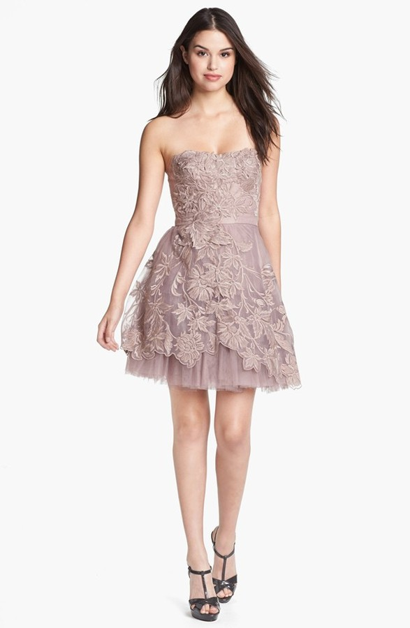 Adrianna Papell Embroidered Tulle Fit & Flare Dress