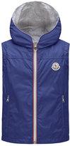 Moncler Deneb Jersey-Lined Hooded Rain Vest, Blue, Size 8-14