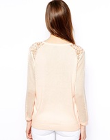 Warehouse Geo Print Pointelle And Lace Jumper