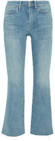MiH Jeans Lou Cropped Embroidered High-rise Flared Jeans - Mid denim