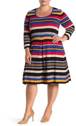 Maree Pour Toi 3/4 Sleeve Multicolor Stripe Print Dress (Plus Size)