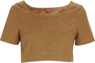 STAUD Tango Linen Cropped T-Shirt