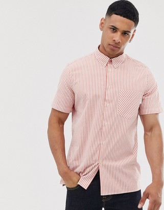 Paul Smith vertical stripe short sleeve shirt in red and white