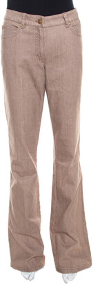 Escada Savannah Brown Coated Stretch Denim Flared Jeans M