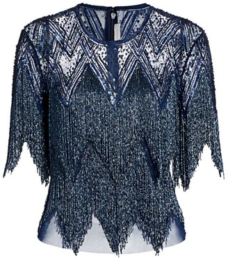 Naeem Khan Beaded Fringe Top
