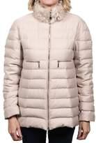 Moncler Arnica Fur Collar Gamme Rouge Down Jacket Beige Women's.