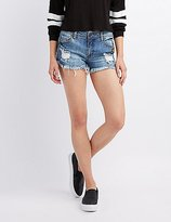 Charlotte Russe Refuge Patch Shortie Denim Shorts