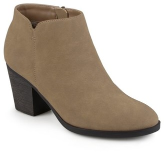 Brinley Co. Women's High Heeled Round Toe Chunky Heel Ankle Booties