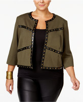 MBLM by Tess Holliday Trendy Plus Size Studded Jacket