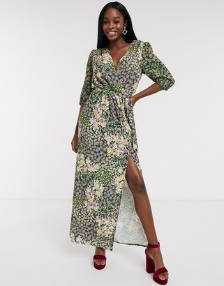 NEVER FULLY DRESSED wrap maxi dress with high thigh split in green floral print