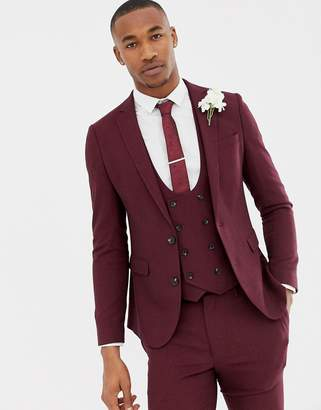 Asos Design DESIGN wedding super skinny suit jacket in burgundy micro texture-Red
