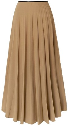 Peter Do Maxi Flared Pleated Skirt in Taupe