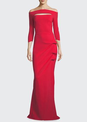Chiara Boni Kate Keyhole Gathered Trumpet Evening Gown