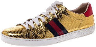 Gucci Metallic Python Embossed Gold Ace Lace Up Sneakers Size 40.5