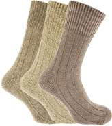 Universal Textiles Mens Non Elastic Chunky Wool Boot Socks (Pack Of 3)