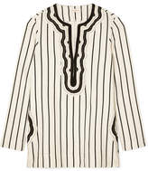 Tory Burch Tory Cord-trimmed Striped Canvas Tunic - Ivory