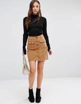 Brave Soul Buttoned Cord Skirt